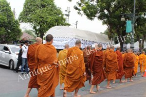 Monks crossing road in Bangkok, Thailand