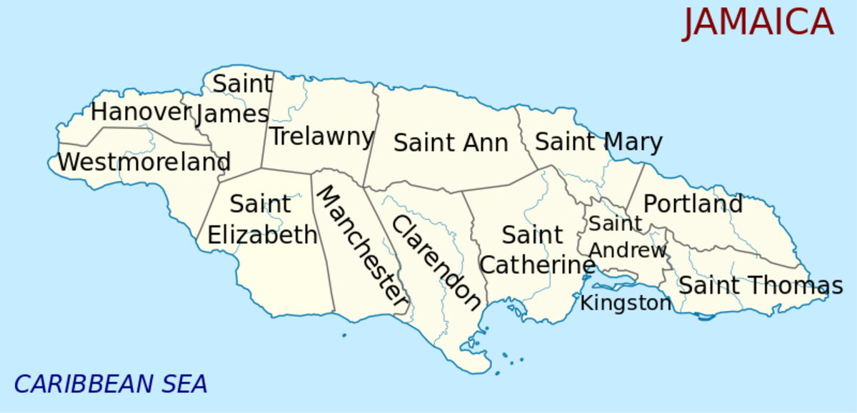 map of Jamaica - parish view