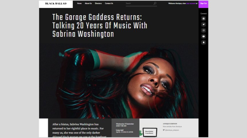 The Garage Goddess Returns: Talking 20 Years Of Music With Sabrina Washington